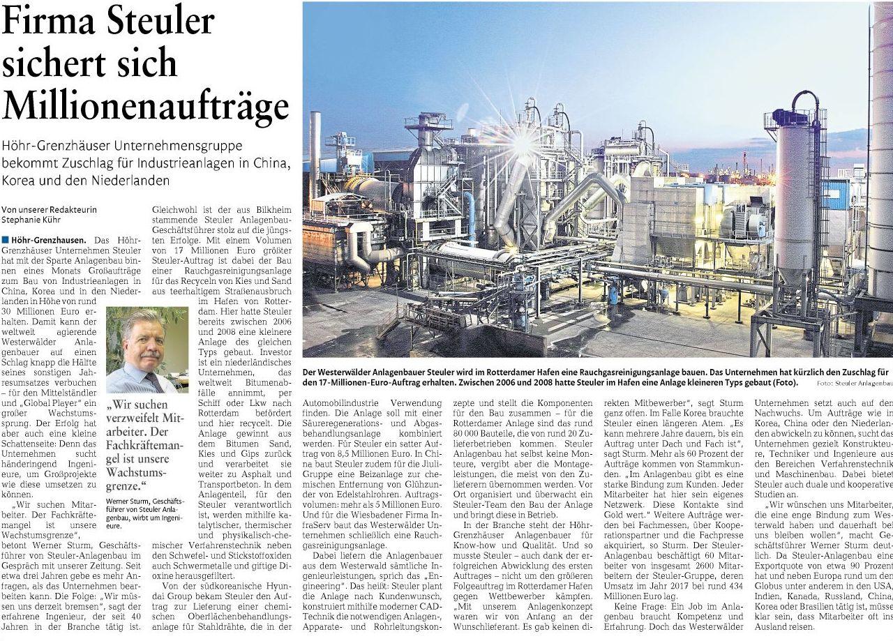 Steuler Millionenaufträge Westerwälder Zeitung