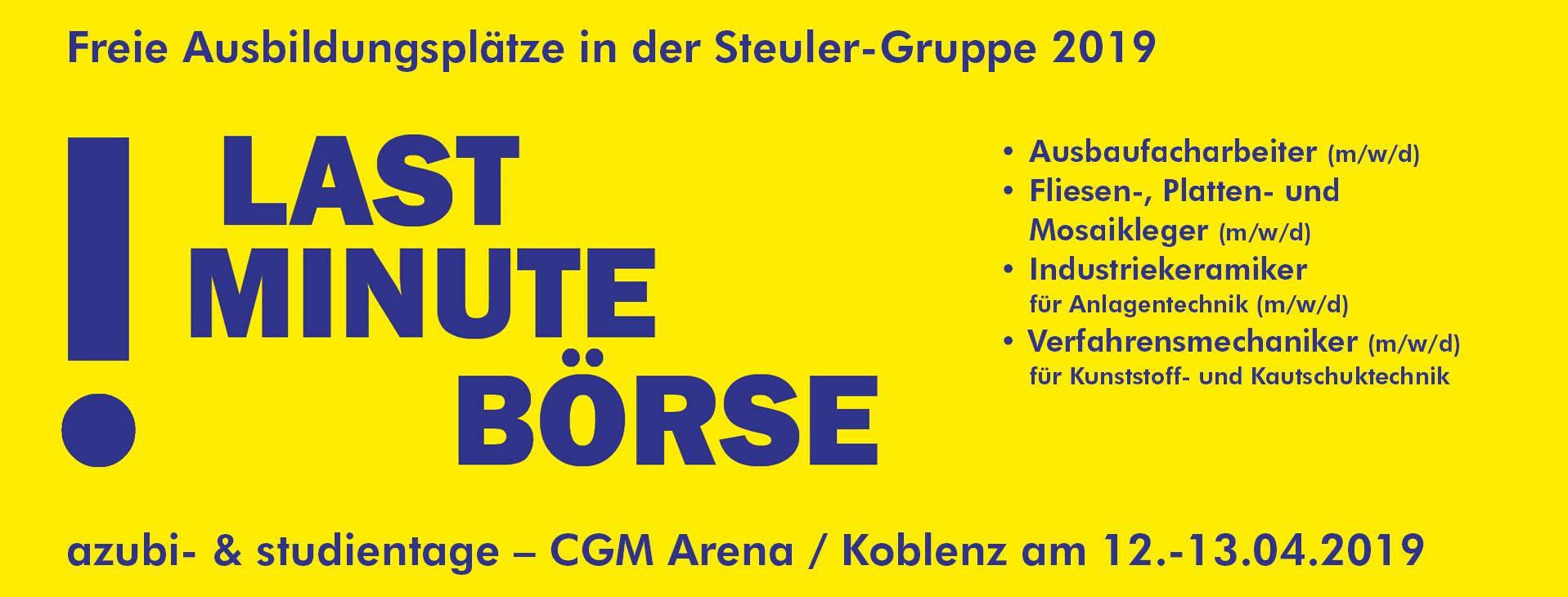 Jetzt noch bewerben, die Steuler-Gruppe hat für das Ausbildungsjahr 2019 noch Ausbildungsplätze im Raum Westerwald zu vergeben.