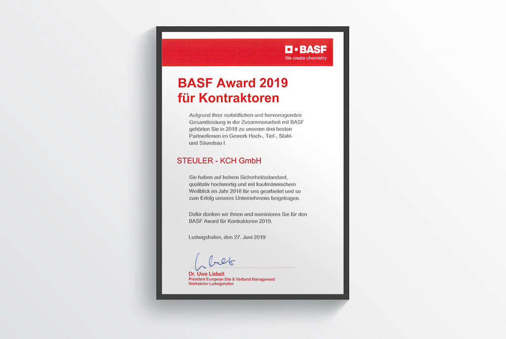 BASF Award 2019 honored STEULER-KCH GmbH for the exemplary and outstanding overall performance in the cooperation with BASF SE Ludwigshafen