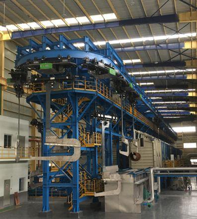 Vollautomatische Ringbahn-Tunnelbeiz- und Beschichtungsanlage für C-Stahlbunde mit einer ZLD