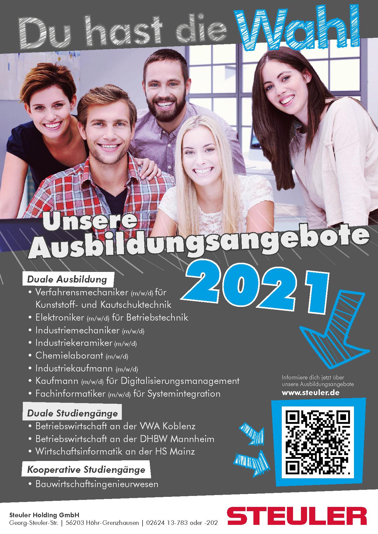 Ausbildungsangebote 2021 der Steuler-Gruppe im Westerwald