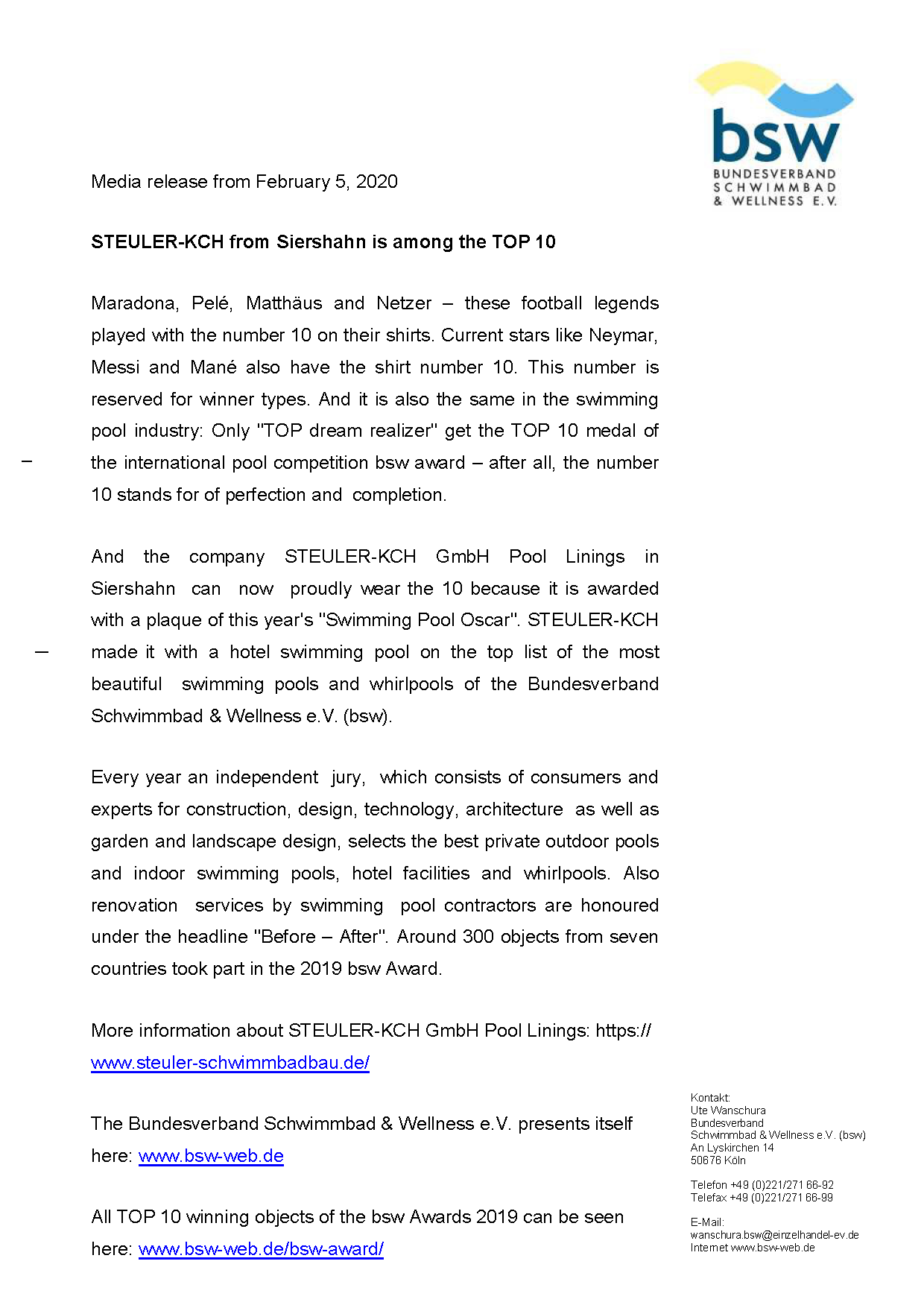 bsw media information about the awarded swimming pool of STEULER-KCH in this years nomination.