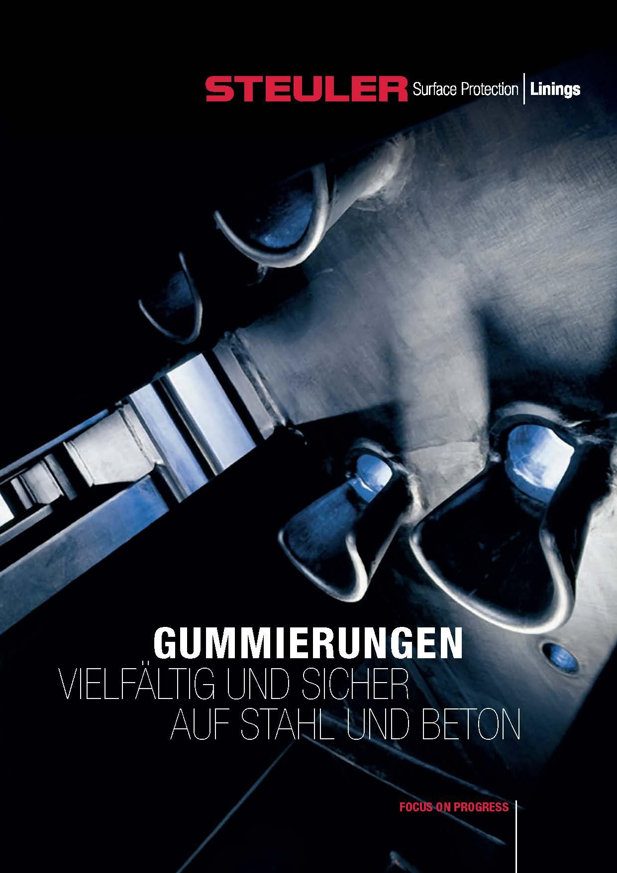 Titelseite des neuen Gummierungsprospekts Steuler Linings