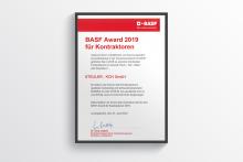 BASF Award 2019 für die STEULER-KCH GmbH (Siershahn, Deutschland) für die vorbildliche und hervorragende Gesamtleistung in der Zusammenarbeit mit BASF SE Ludwigshafen